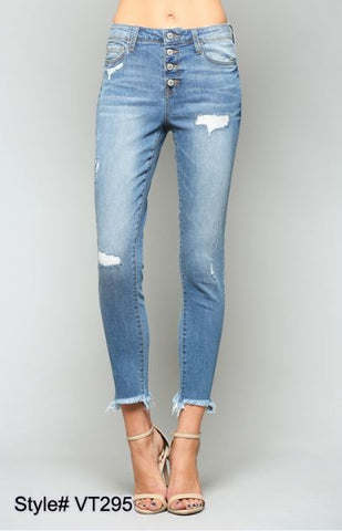 54afda4d2bad5f Sold Out Mid Rise Button Up Fray Hem Ankle Jeans - VT295