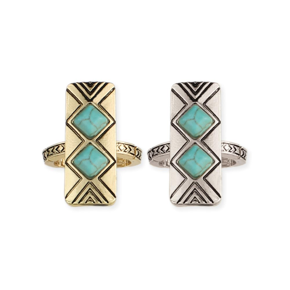 Turquoise Chevron Rectangle Stretch Ring