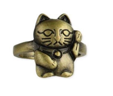 Burnished Gold Lucky Cat Ring