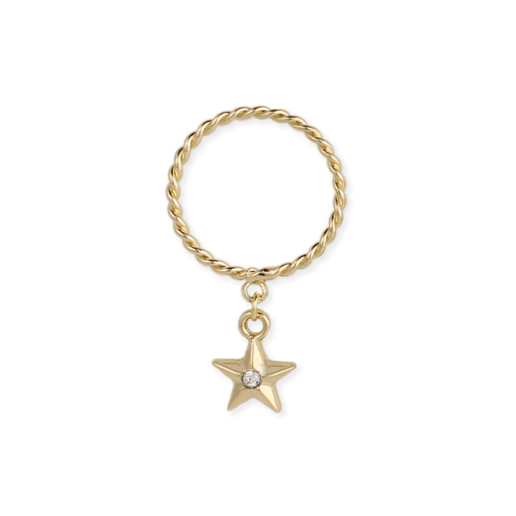 Gold Twisted Band Star Ring