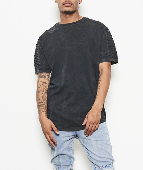 INTERLUDE PANEL MOTO PINTUCK TEE - VINTAGE BLACK
