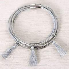Triple Tassel Harp String Bracelet Assorted Colors