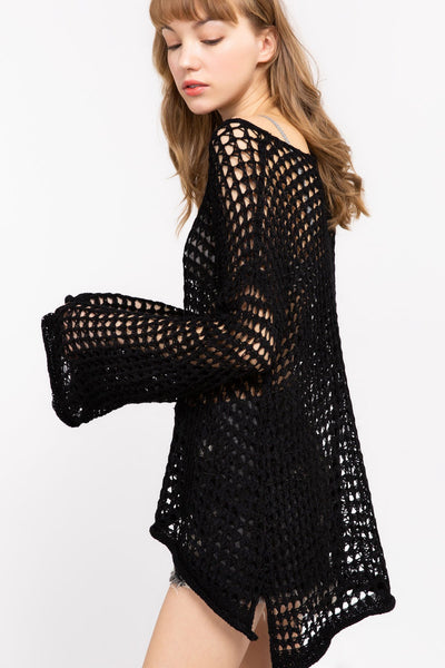 Open Weave Mesh Pull-Over - Black