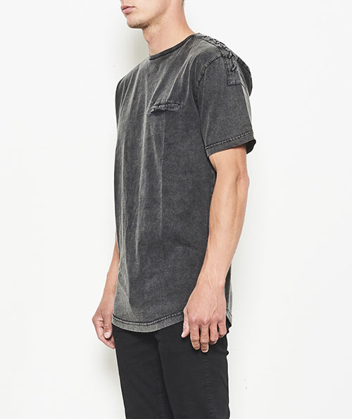 DROP SHOULDER T-SHIRT WITH LACE DESIGN - DELTA