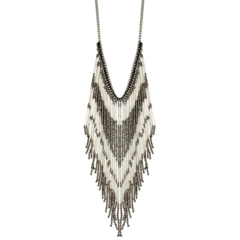 White & Grey Bead Fringe Bib Necklace