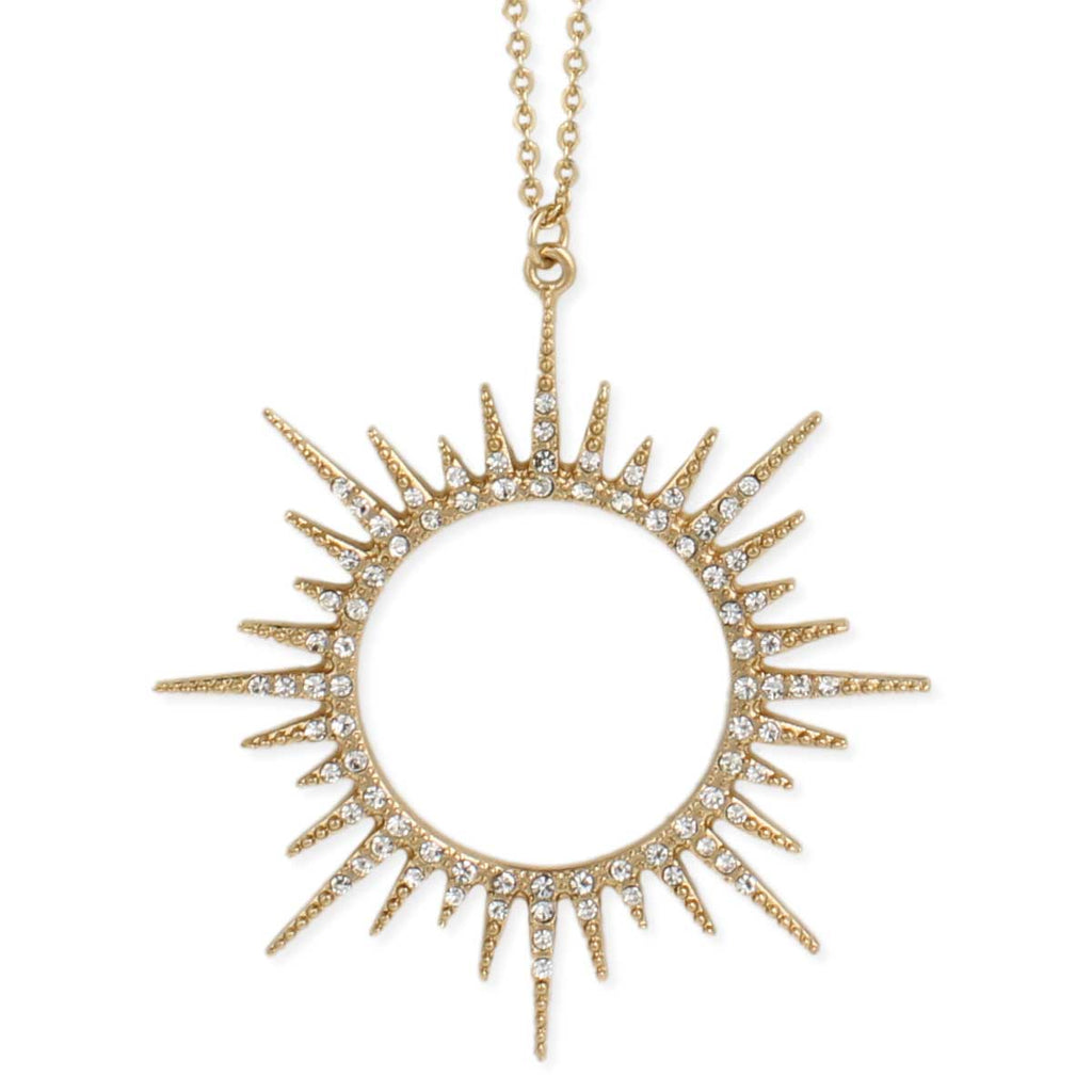 Gold & Crystal Sunburst Long Necklace