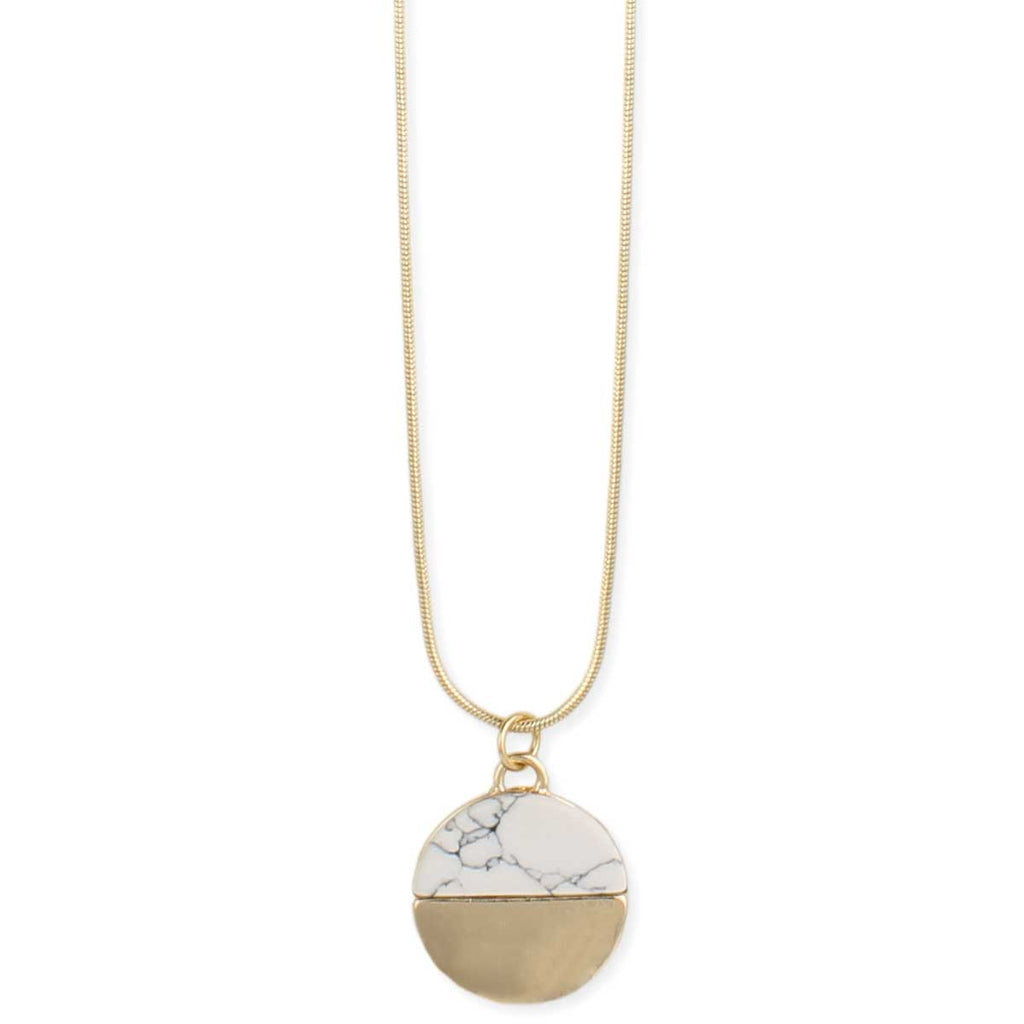 Round Gold & White Howlite Pendant Necklace