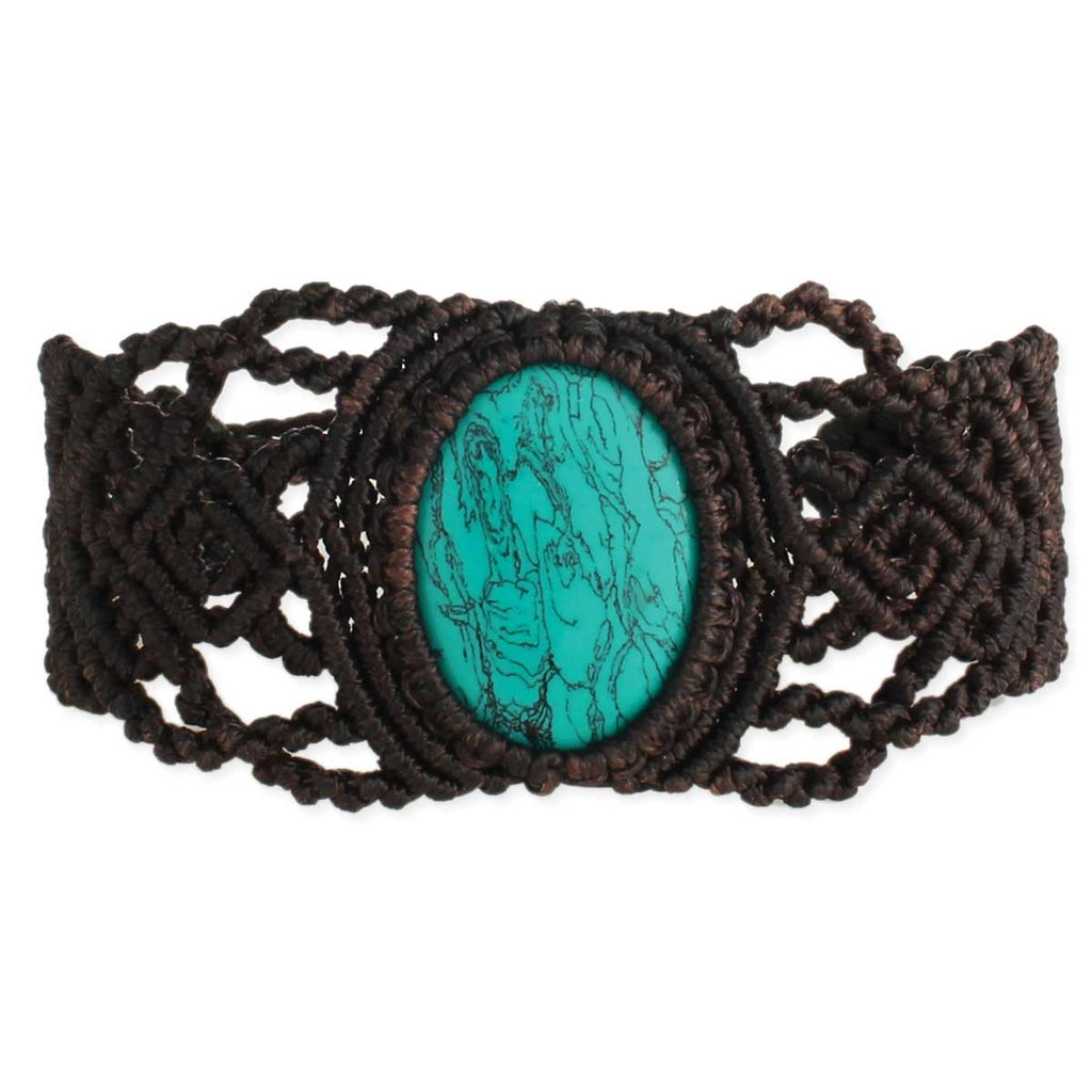 Brown Macrame & Turquoise Pull Bracelet