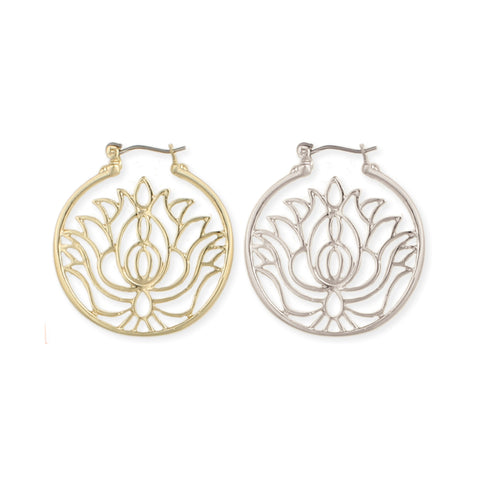 Enlightened Lotus Hoop Earrings