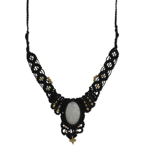 Black Macrame & Rainbow Moonstone Pull Necklace