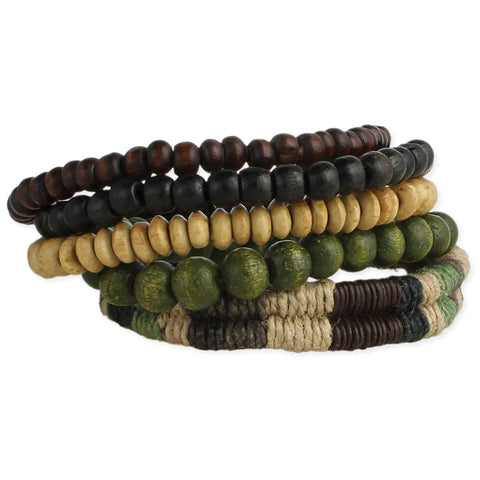Set of 5 Wood Bead Men's Bracelets