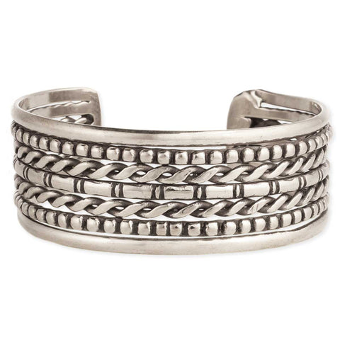 Mixed Texture Silver Cuff Bracelet