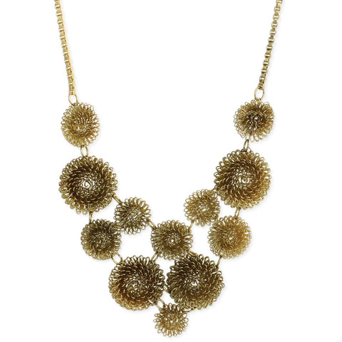 Gold Wire Flower Bib Necklace