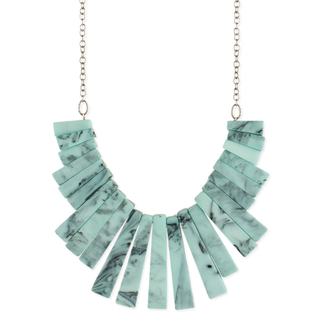 Marbled Blue Bar Necklace