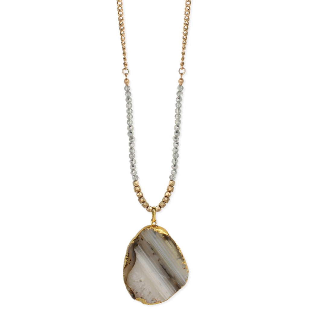 Natural Luxury Bead & Agate Slice Necklace