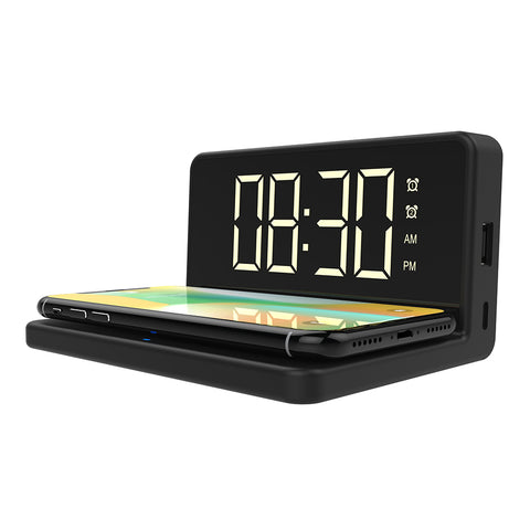 Alarm Clock with Wireless Charging Pad