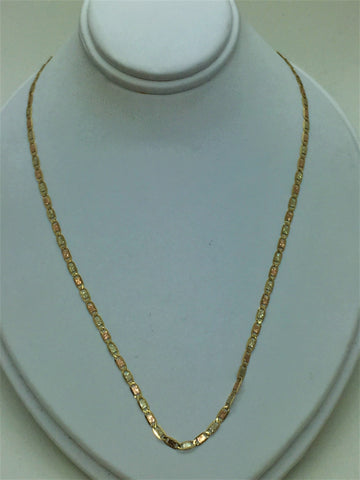 "Solid Gold 10k 19"" Tri-Color Gold Chain"