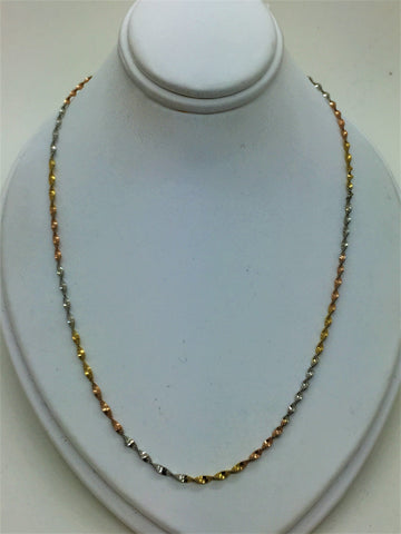 "Solid Gold 14k 16"" Tri-Color Gold Chain"