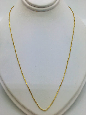 Solid 14k Box Link Gold Chain 18""