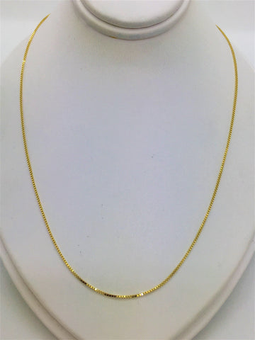 Solid 14k Box Link Gold Chain 24""