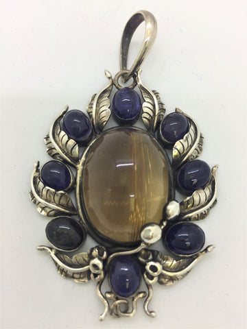 Solid Sterling Silver Rutilated Quartz & Iolite L Pendant