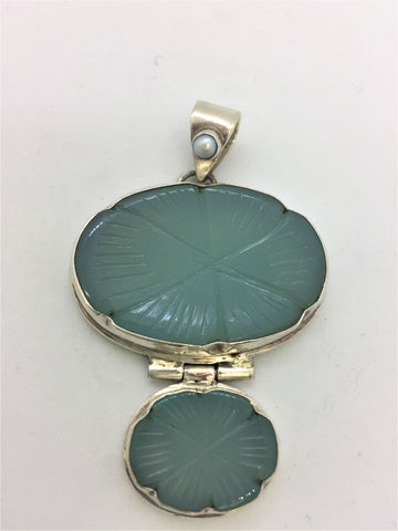 Solid Sterling Silver Blue Green Agate w/Pearl Slide Pendant
