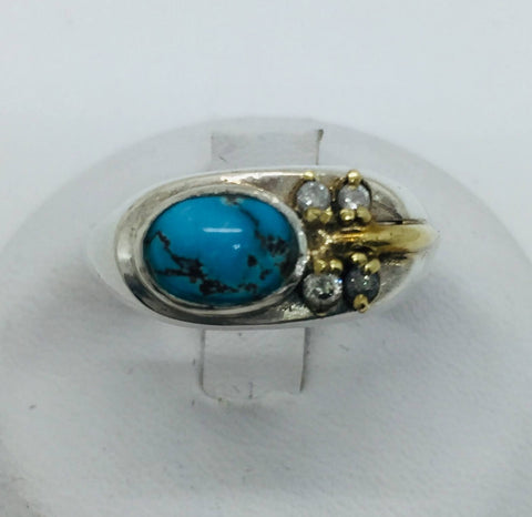 Pre-Owned Vintage Sterling Silver and Gold Untreated Persian Turquoise Diamond Ring