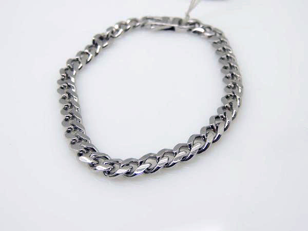 Solid Sterling Silver Rhodium Finished Cuban Link Bracelet, 8""