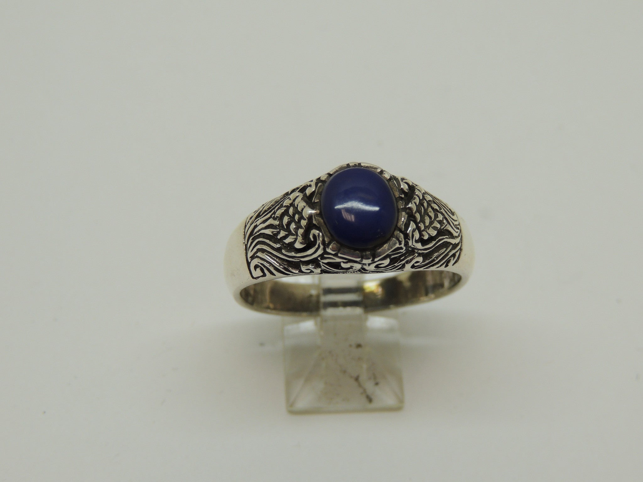 Sterling Silver Men's Ring w/ Blue Lapis Stone