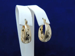 14k Solid Gold Diamond Cut Tri-Color Tapered Hoop Earrings