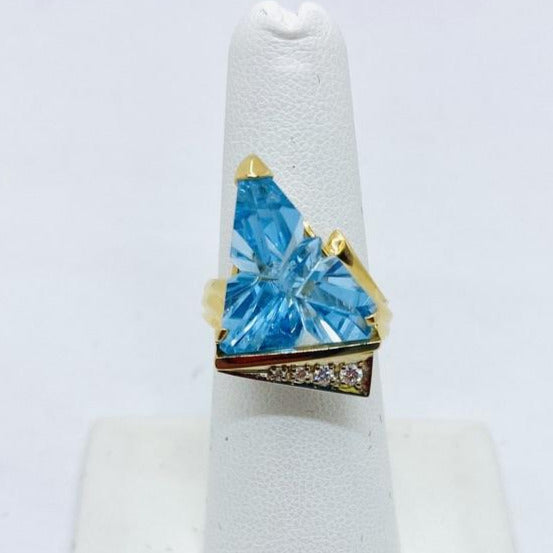 14k Solid Gold Genuine Blue Topaz & Diamond Ring