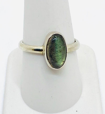 925 Solid Sterling Silver Labradorite Stone Oval Ring   Size 9.25