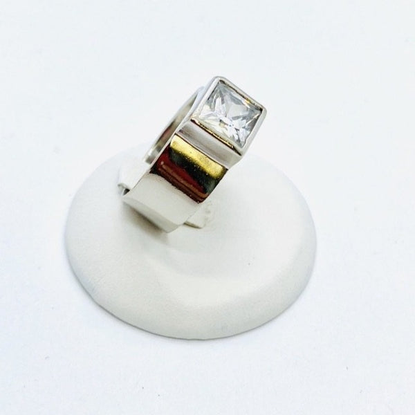 Sterling Silver Lady's Square Cut Ring