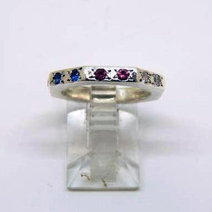 Sterling Silver Handcrafted Multi-color band ring
