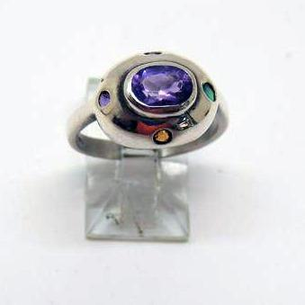 Sterling Silver Ring w/Multi Color Cubic Zirconia Stones, Size 7.25