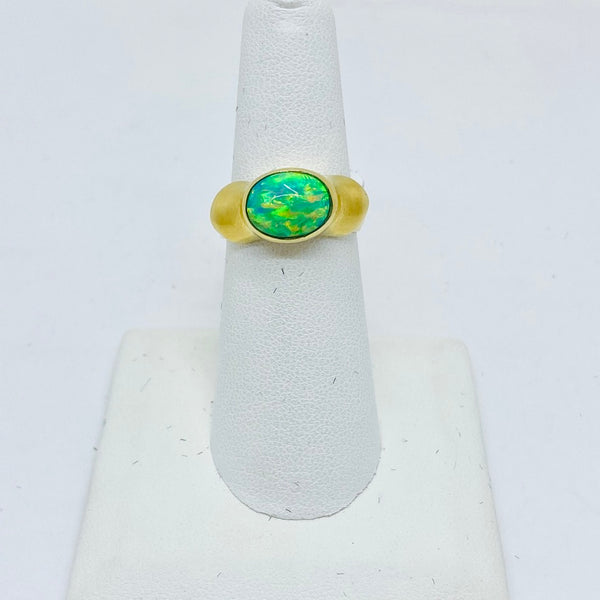 14k Solid Gold Genuine Opal Ring