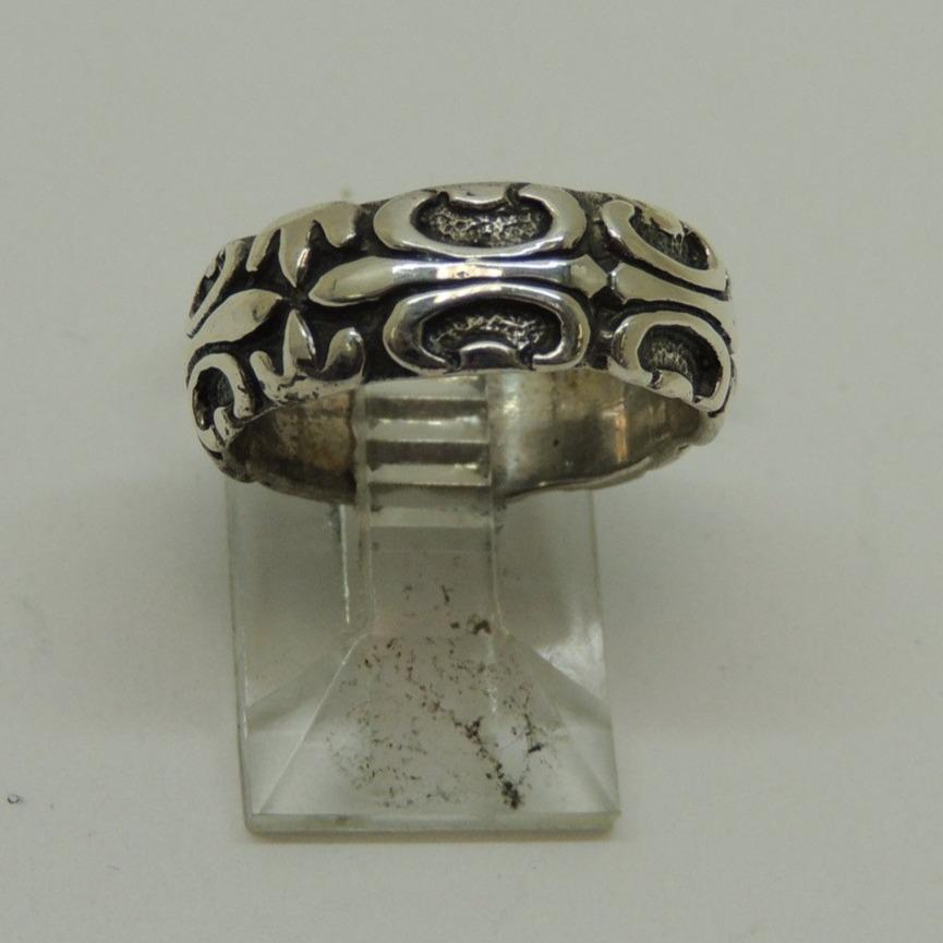 Sterling Silver Oxidized Band Ring, 7mm Wide, Size 5.5