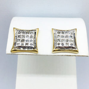 10K Solid Gold Two-Tone Diamond Earrings 0.50CTW