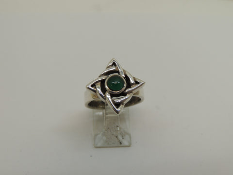 Sterling Silver Celtic Band Ring With Green Agate