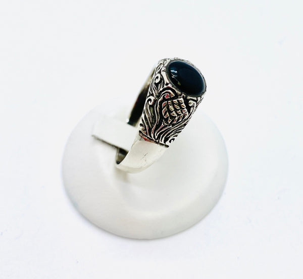 Sterling Silver Men's Ring With Black Onyx Size 14