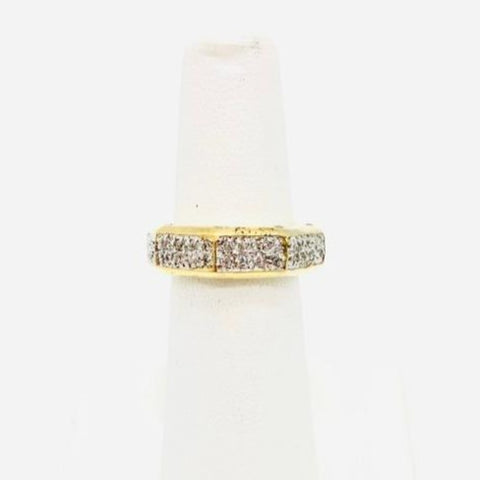 925 Sterling Silver Vermeil Eternity Band ring with Cubic Zirconia