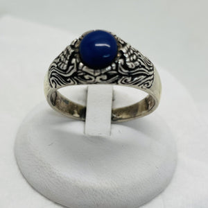 925 Sterling Silver Men's Ring w/ Blue Lapis Stone, Size 15