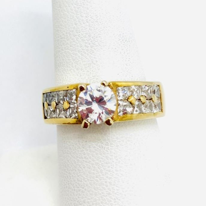 Sterling Silver Lady's Engagement Gold Plated Fancy Cubic Zirconia Ring, Size 8