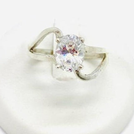 Sterling Silver Cubic Zirconia Ring, Size 6.5