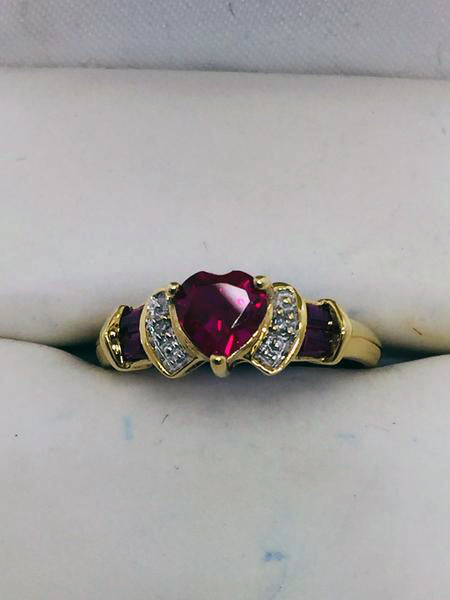 10k Solid Gold Lab Created Ruby & Diamond Ring