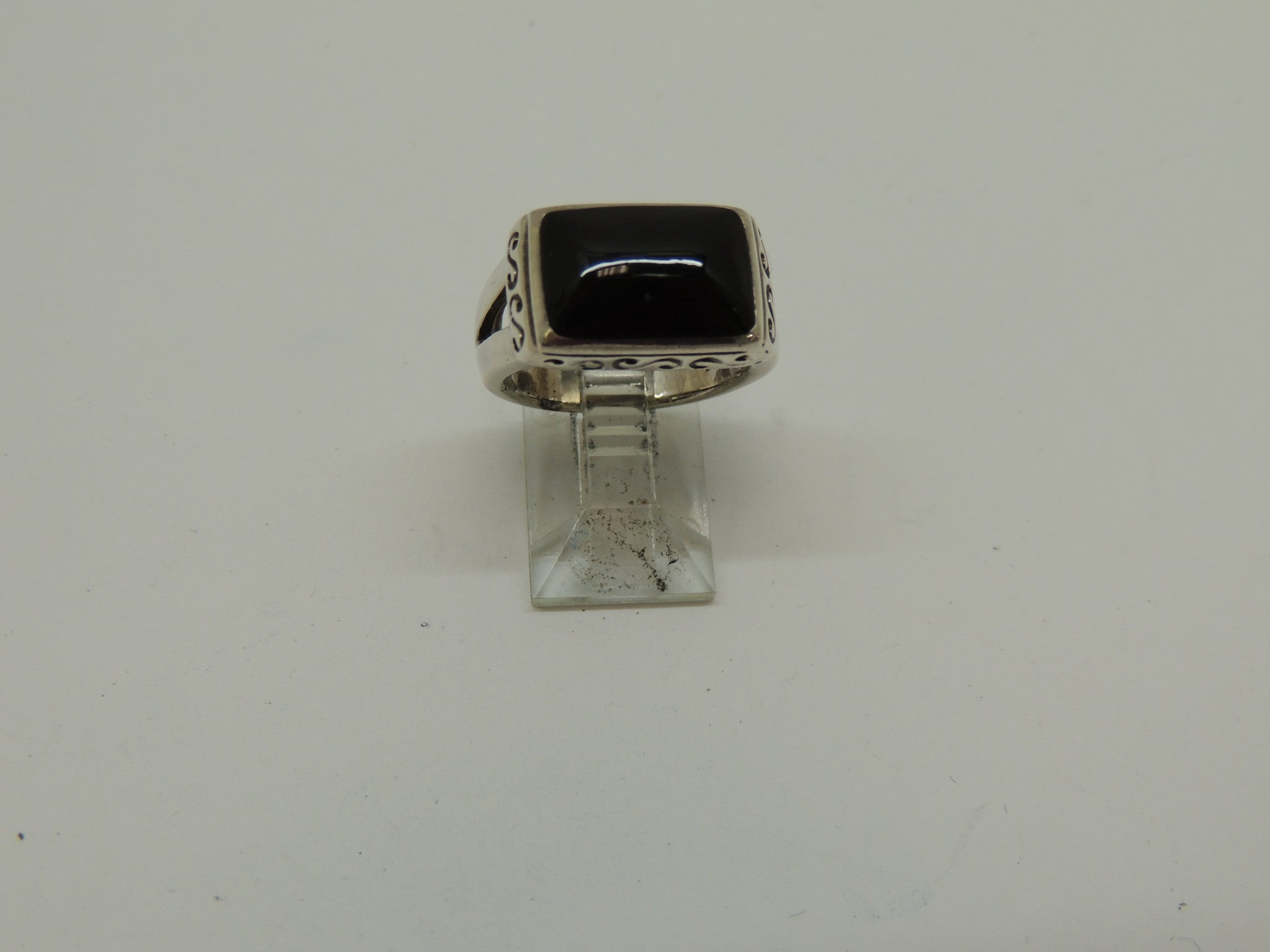 Sterling Silver Lady's Ring w/ Black Stone