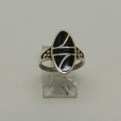 Silver Ring w/ Black Inlay