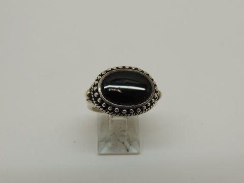 Sterling Silver Black Onyx Ring w/ Antique Finish