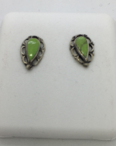 925 Sterling Silver Green Turquoise Post Earrings
