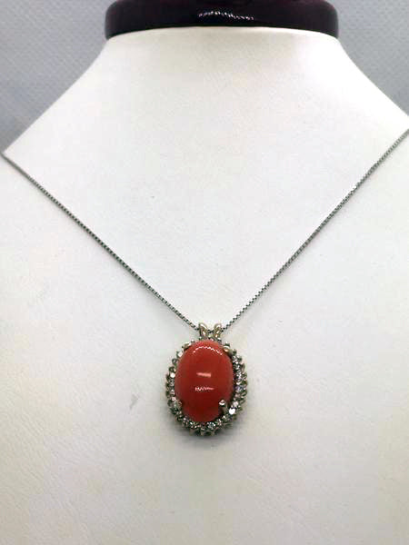 14k Solid Gold Genuine Coral Pendant & Chain